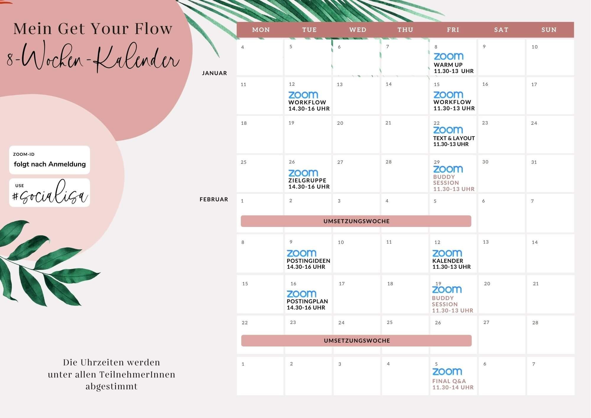 Get Your Flow Zeitplan